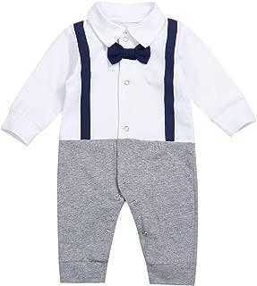 Newborn Baby Boy Gentleman Clothes Tuxedo Bow Tie Romper Jumpsuit Formal Outfits