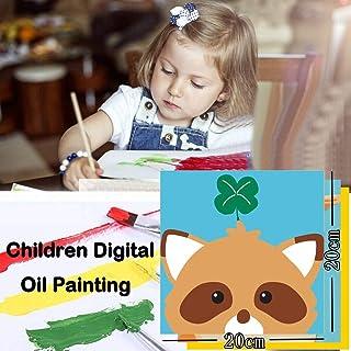 Home,Garden,Home Diy,Diy Digital Oil Painting 20x20cm Room Decoration Cartoon Oil Paint For Children Children'S Diy Digital Oil Painting 20x0 (Frameless) Blue