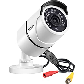 ZOSI 1080P 防犯カメラ フルハイビジョン1080P 200万画素 Analog/AHD/CVI/TVI 4-IN-1カメラ OSD付き 赤外線搭載 IRフィルター搭載 金属カバー 防水防塵仕様 屋外 屋内設置可 ホワイト
