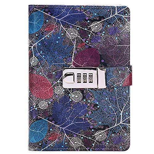 Monique B6 Print PU Leather Cover Notebook Locking Personal Dairy Writing Journal with Combination Lock Blue