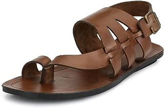 GUAVA Men Anti-Sweat Tan Leather Sandals