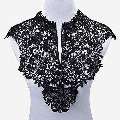 Yulakes 2pcs Spitzenkragen Einsatzkragen Kragen Verzieren für Kleid DIY Handarbeit Vorne + hinten -one size (Schwarz)