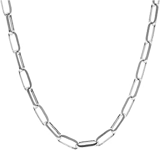 JTV Sterling Silver 3.5mm Elongated Cable Link Chain Necklace 18 Inch
