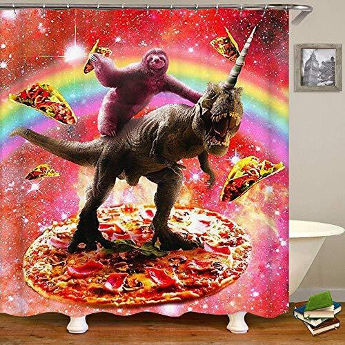 kuanmais Lustige duschvorhang lustige faultier fahrt Dinosaurier und Pizza duschvorhang Badezimmer Dekoration formbeständig wasserdicht mit 12 Haken 180x200cm
