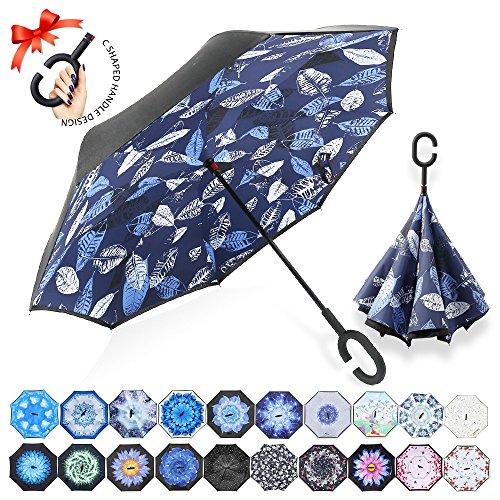 ZOMAKE Inverted Stockschirme, Innovative Schirme Double Layer, Winddicht Regenschirm, Freie Hand,Umgedrehter Regenschirm mit C Griff für Auto Outdoor (Blaues und weißes Laub)