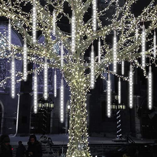 zonpor Meteorschauer Lichterkette, 30cm 8 Röhren 192 Leds Fallende Regen Lichter Wasserdichte für Innen Außen Hochzeit Garten Home Decor (Weiß)