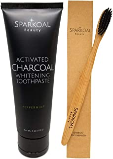 Activated Charcoal Teeth Whitening Toothpaste - USA Made Charcoal Toothpaste - BONUS Bamboo Toothbrush - Natural Toothpaste Fluoride Free - Organic Coconut Oil and Tooth Whitening
