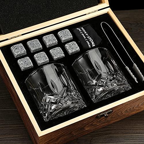Piedras de Whisky Sets de Regalo Granito Blanco Enfriado Piedras de Whisky Copas de Vino Caja de Madera Sets de Regalo el Regalo Perfecto para Beber para El Padre de Un Hombre