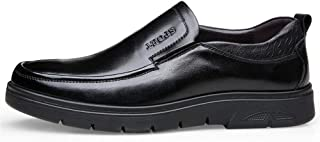 Bin Zhang Elastic Loafers for Men Dress Shoes Slip on Genuine Leather PU Sole Round Toe Low Top Anti-Skid Flat Heel Solid Color Lightweight (Color : Black, Size : 7 UK)