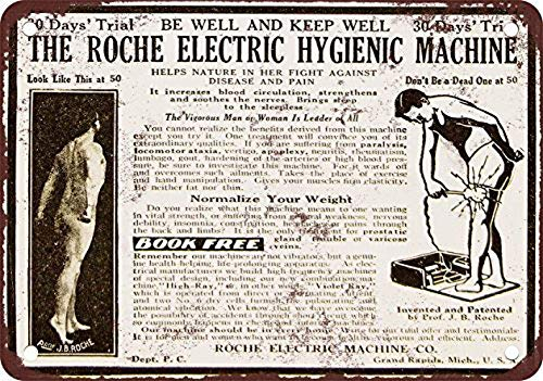 Cimily Roche Electric Hygiene Machine Vintage Tin Sign Metal Sign Poster Retro Iron Painting Plaque Art Wall Decor 12×8 Inch