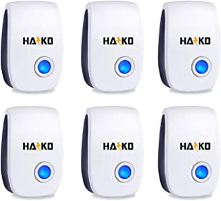 HAZKO Ultrasonic Pest Repellent 6 Packs - Electronic and Ultrasound Pest Repellent - Insects, Mosquitoes, Mice, Spiders, Ants, Rats, Roaches, Bugs Control - Friendly and Effective Pest Repeller