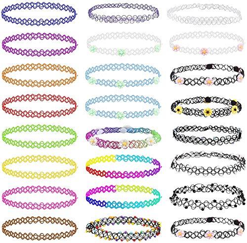 VEGCOO 24 Pcs Choker Necklace Set, Elastic Necklace Pendant Set Colourful...