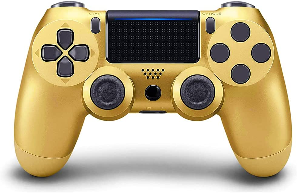 TOPAD Compatible for PS4 Controller, Wireless Controller Work with Playstation 4,with Two Motors/Stereo Headset Jack/Touch Pad,Compatible with PS4/Slim/Pro Console (GOLD)