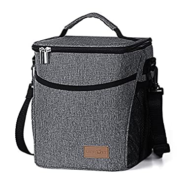 Lifewit Insulated Lunch Box Lunch Bag for Adults Men Women, Thermal Bento Bag, Water-Resistant Leakproof Cooler Bag for Work/School/Picnic, 9L, Grey