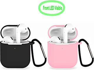 [2Pack] Compatible with Airpods 2 Wireless Charging Case, Protective Thicken Airpods Cover Soft Silicone Chargeable Headphone Case with Anti-Lost Carabiner-Black+Pink