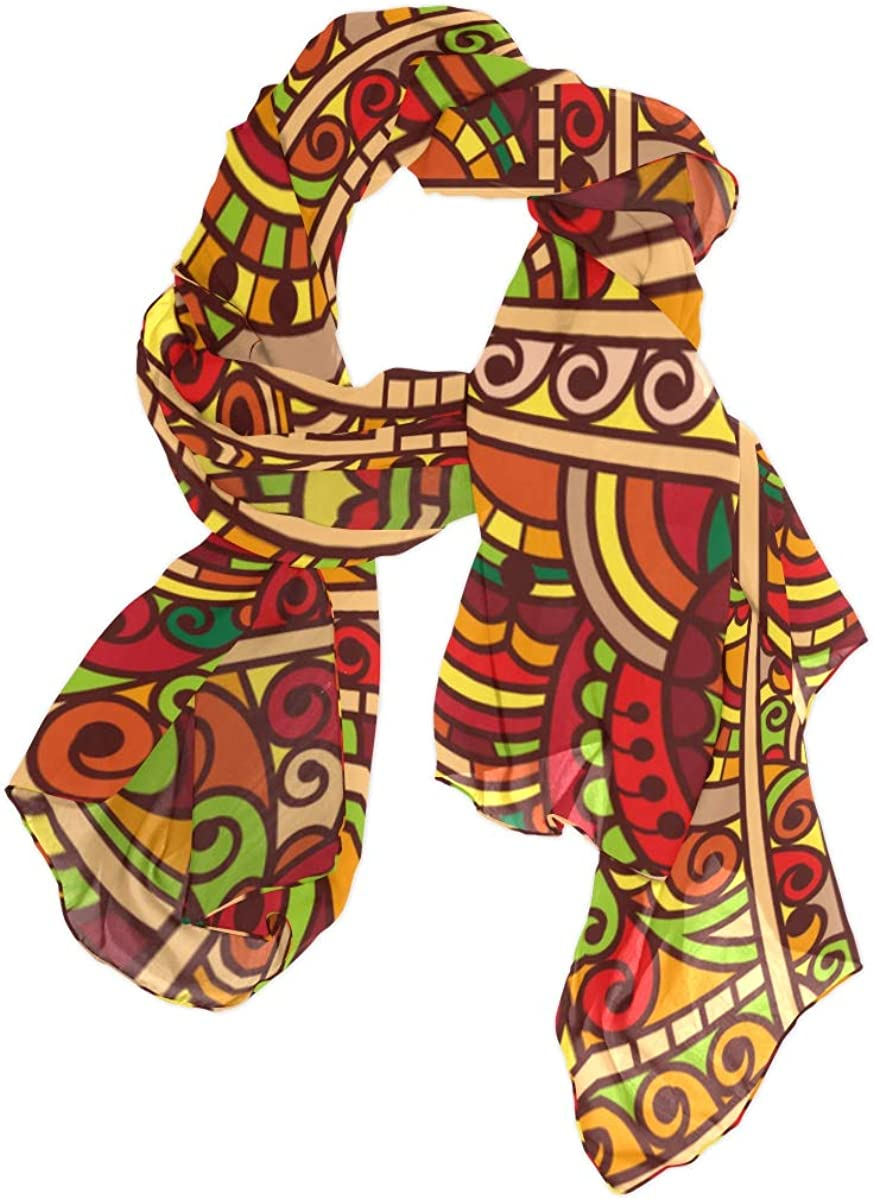 Abstract Fantasy African Ornament Unique Fashion Scarf For Women Lightweight Fashion Fall Winter Print Scarves Shawl Wraps Gifts For Early Spring