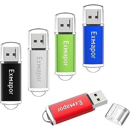 5個セット 16GB USBフラッシュメモリ Exmapor USBメモリ キャップ式 五色(赤、黒、銀、緑、青)5年保証