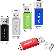 Exmapor 5PCS 1GB USB Flash Drive Bulk Storage Memory Stick Pen Drives with LED Indicator(Red/Black/Silver/Green/Blue)