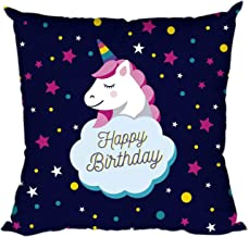 YaYa cafe Happy Birthday with Unicorn Canvas Cotton 12X12-inch Throw Pillow Cushion Cover-Blue