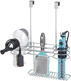 mDesign Soporte para secador de pelo sin taladro – Sencillo colgador de puerta con 4 huecos para secadores, planchas o rizadores – Organizador de baño para utensilios de peluquería – plateado