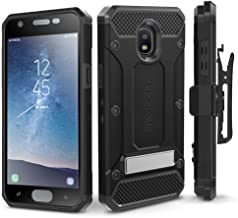 Evocel Explorer Series Pro Compatible with Galaxy J3 2018/ J3 V 3rd Gen/Express Prime 3/ J3 Achieve/ J3 Star/Amp Prime 3 Heavy Duty Protection Case w/Tempered Glass, Holster, Kickstand – Black