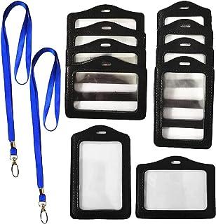 RuiChy 10 Pièces Noir Porte-badges avec 2 Pièces Sangle de Lanière, Faux Cuir Verticale Horizontal Étiquette de Nom Titula...