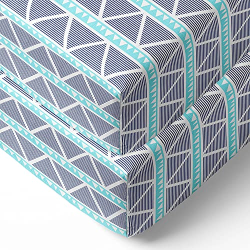 Bacati - 2 Pack Tribal/Aztec/Triangles Silky Soft Breathable 100% Cotton Muslin Baby Crib Fitted Sheets - Fits Standard 28 x 52 x 5 Crib & Toddler Mattresses (Aqua/Navy Large Triangles)