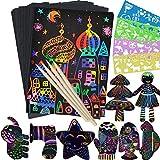 Fogli di Disegni Scratch Art, 30 Fogli Arcobaleno da Grattare Scratch Carta nera da grattare bambini con 4 Modelli di Disegno per da Scarabocchiare, Appunti, Disegni, Giochi (21 x 28 cm)