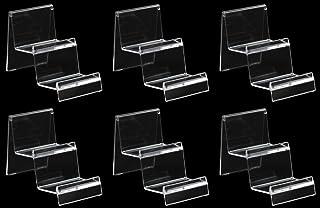 【Rurumi】展示用 アクリル クリア ディスプレイ スタンド 6個 セット 携帯 スマホ 財布 CD スタンド (幅7cm 2段)