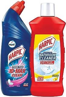 Harpic All in 1 Powerplus - 1 L (Rose) with Harpic Bathroom Cleaner - 1 L (Lemon)