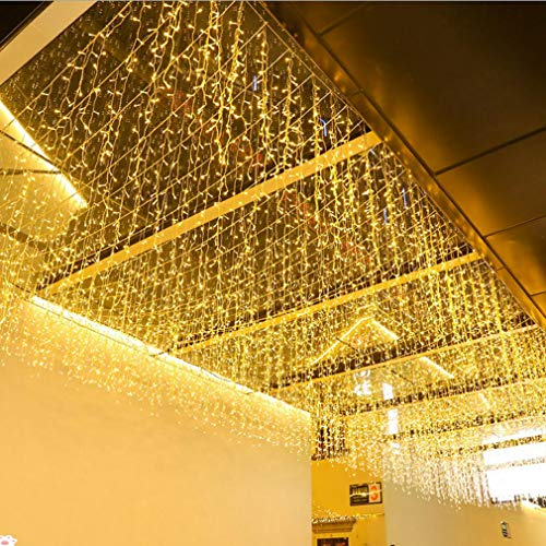 FTON LED Icicle Lights, 13FT 96 LEDs Fairy String Lights Plug in Extendable Curtain 8 Modes Decorative Wave Twinkle Novelty Christmas Light for Garden Unique Party Wall Decorations, Warm White,4M