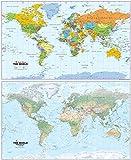 Mapa gigante del mundo – reversible que muestra un lado físico y político el otro – Ideal para pared o suelo, escuelas o hogar – Papel laminado – 130 x 80 cm