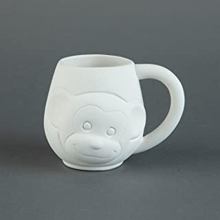 Duncan 33434 Small Tot Momo The Monkey 12 oz Mug, Case of 6 Pieces, Unfinished Ceramic Bisque, With How To Paint Your Own Pottery Booklet