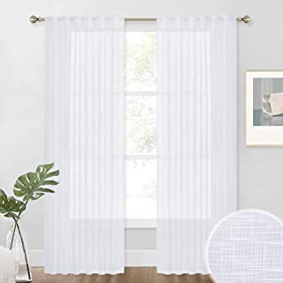 NICETOWN White Linen Sheer Curtains and Drapes 84 inches Long, Rod Pocket & Back Tab semitransparent with Light Through Ve...