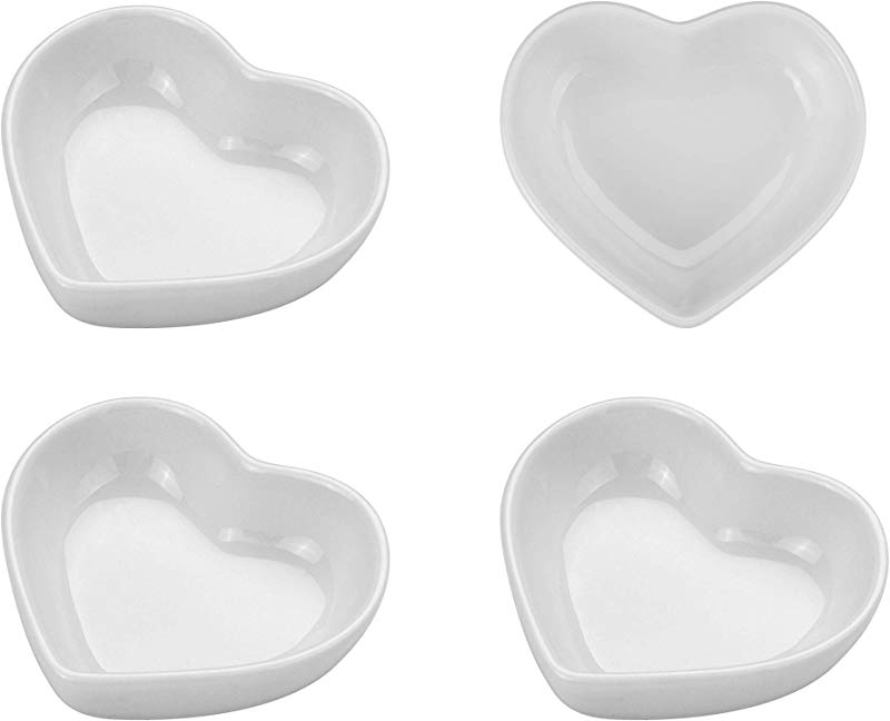 Beautyflier Pack Of 4 Heart Shaped Ceramic Sauce Dishes Plates Serving Saucers Bowl For Sushi Appetizer Japanese Style Dinnerware Set Snack White Color