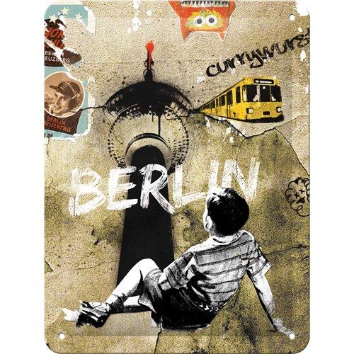 Nostalgic Art Street Art – Geschenk-Idee Berlin-Fans Blechschild 15x20 cm, aus Metall, Bunt, 15 x 20 cm