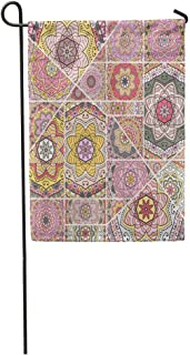 Nick Thoreaufhed Garden Flag Patchwork Quilt Pattern Vintage Indian Turkish Motifs Abstract Colorful Home Yard House Decor Barnner Outdoor Stand 12x18 Inches Flag