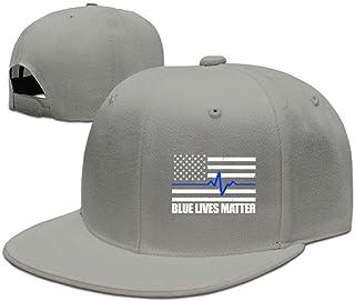 FGHJKL Blue Lives Matter Thin Blue Line Flag Heartbeat Adjustable Snapback Baseball Caps Flat Bill Cap