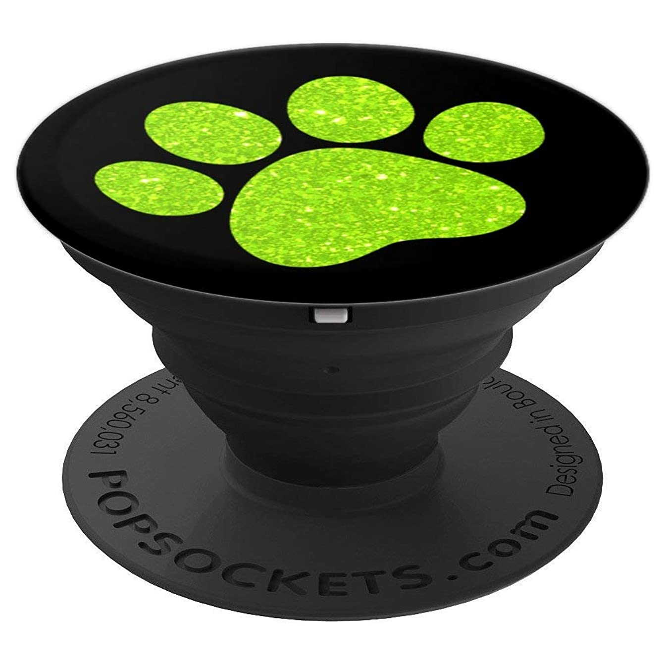Lime Green, Paw Print Pattern, Cat Paw, Dog Paw - PopSockets Grip and Stand for Phones and Tablets