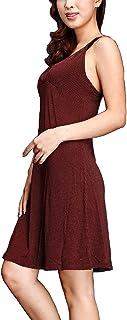 IngerT Women's Pajama Lace Trim Nightwear Lingerie Polka Dot Nighty Dress V Neck Chemise Thin Straps Sleepwear Soft Viscos...