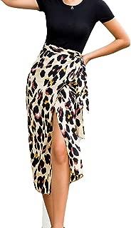 Sanyyanlsy Women's Sexy Slit Empire Waist Leopard Print Bohemian Skirt Ladies Floor-Length Long Skirt Fashion Winter
