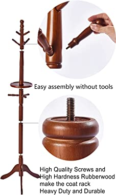 Accent Rubberwood Heavy Duty Coat Rack Stand with Shelf, Entryway Hall Tree Coat Tree for Hat,Clothes,Key,Purse,Scarves,Handb