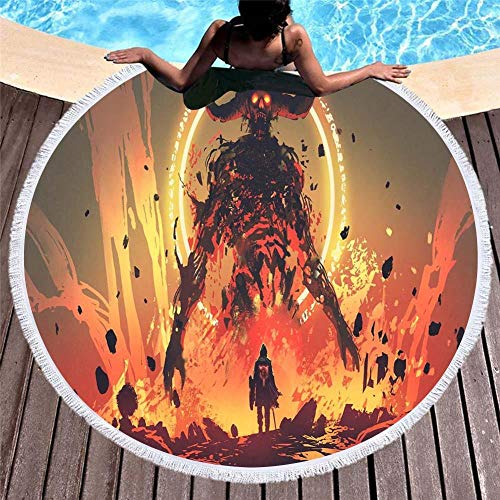 LIFUQING Toalla Microfibra De Flamenca Impresa Linda Toalla De Playa Redonda Grande Toalla Ropa De Felpa Gruesa Borla Manta De Playa 150X150Cm