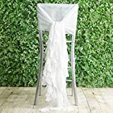 Tableclothsfactory 1 Set White Premium Designer Curly Willow Chiffon Chair Sashes for Home Wedding Birthday Party Dance Banquet Decoration