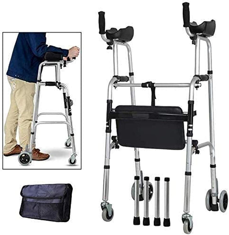 WANGXNCase Andador Plegable Aluminio para Personas de la Tercera Edad, muleta Plegable de Aluminio para Trabajo Pesado con Ruedas, Andador Vertical de pie para Personas Altas,