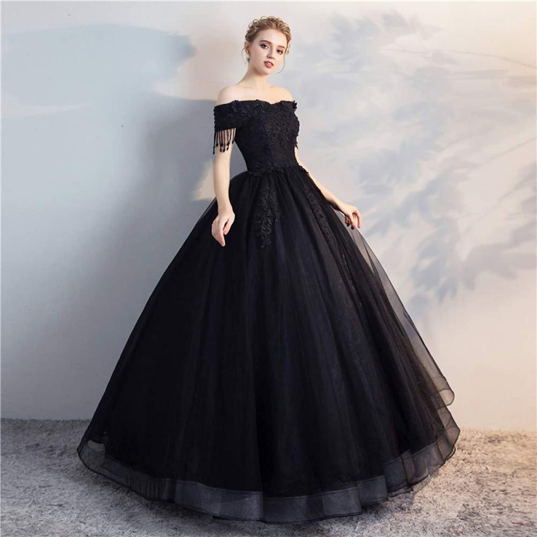 QAQBDBCKL New Black Organza Tassels Beaded Cosplay Medieval Dress Renaissance Ball Gown Princess Victorian Can Be Inch Size