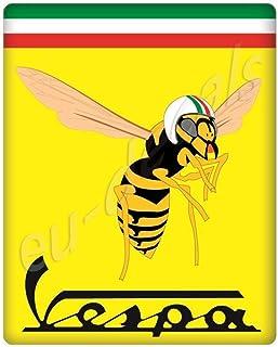 MioVespa Collection 3D Aufkleber, gewölbt, für die Vorderseite (horncasting) Abzeichen Ihrer Vespa, mit Mio Vespa Logo auf gelber und italienischer Flagge