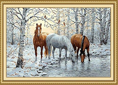 Kit de pintura al óleo por número para adultos principiantes, 40,6 x 50,8 cm, tres caballos en la nieve, dibujo con pinceles, decoración de Navidad regalos (sin marco)