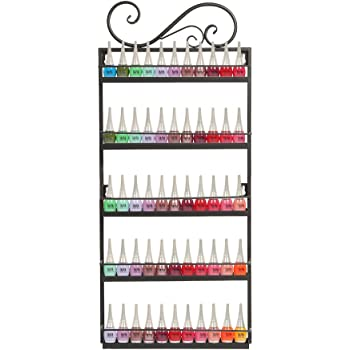 DAZONE Nail Polish Wall Mounted Rack Organizer Holds 50 Bottles Nail Polish Shelf Black