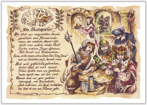 Geschenk Skatspieler Skat Kartenspiel Gedicht Zeichnung Color 20 x 15 cm